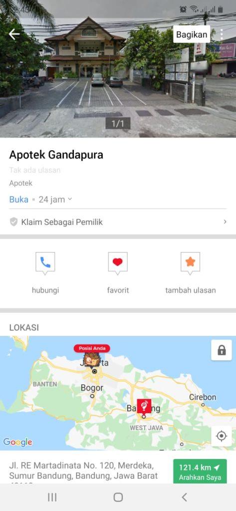apotek 24 jam di Bandung, Apotek K-24 Kacapiring, seputarkota.com
